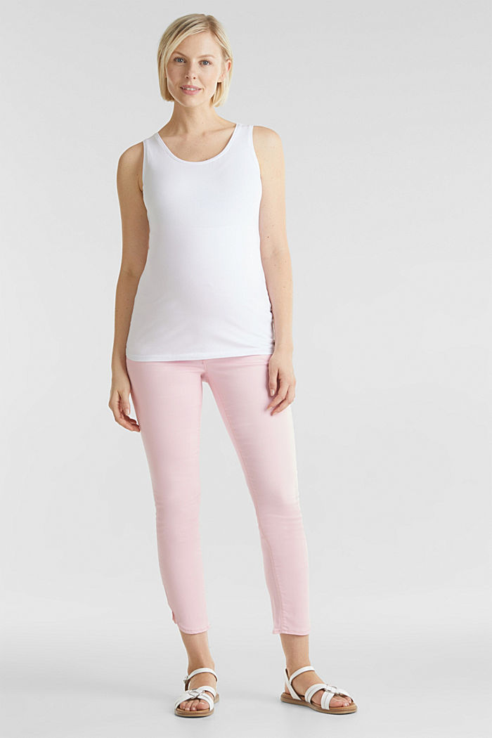 7/8-length stretch trousers with an over-bump waistband, LIGHT PINK, detail image number 6