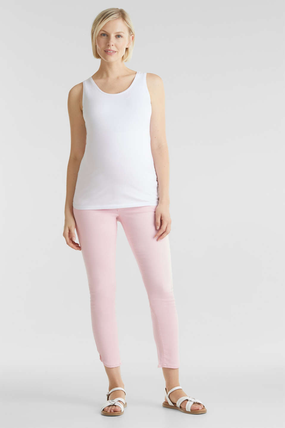 7/8-length stretch trousers with an over-bump waistband, LCLIGHT PINK, detail image number 6
