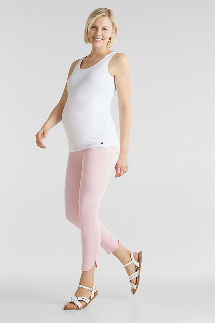 7/8-length stretch trousers with an over-bump waistband, LIGHT PINK, detail image number 1