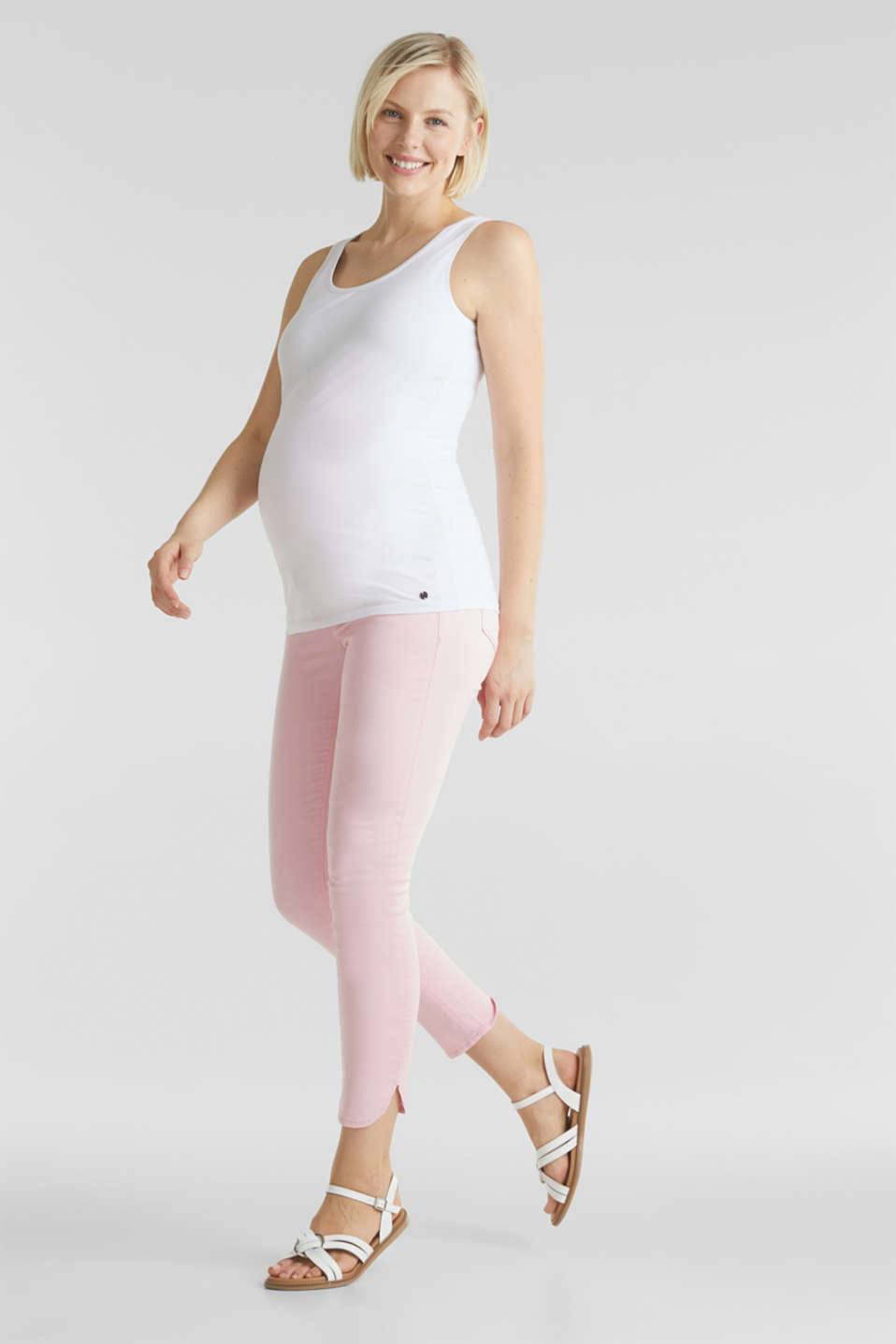 7/8-length stretch trousers with an over-bump waistband, LCLIGHT PINK, detail image number 1