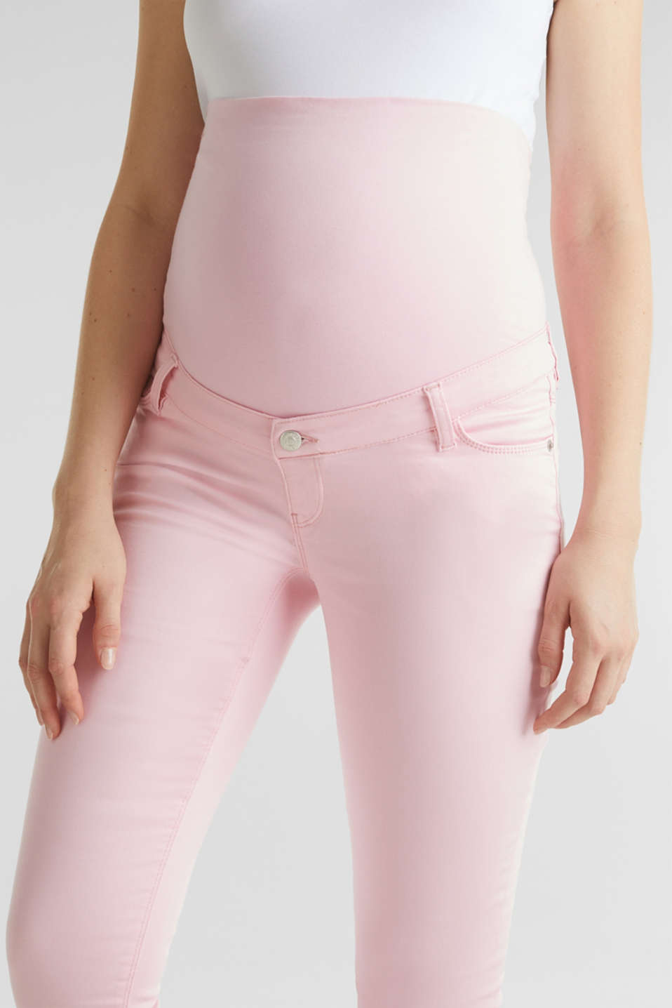 7/8-length stretch trousers with an over-bump waistband, LCLIGHT PINK, detail image number 2