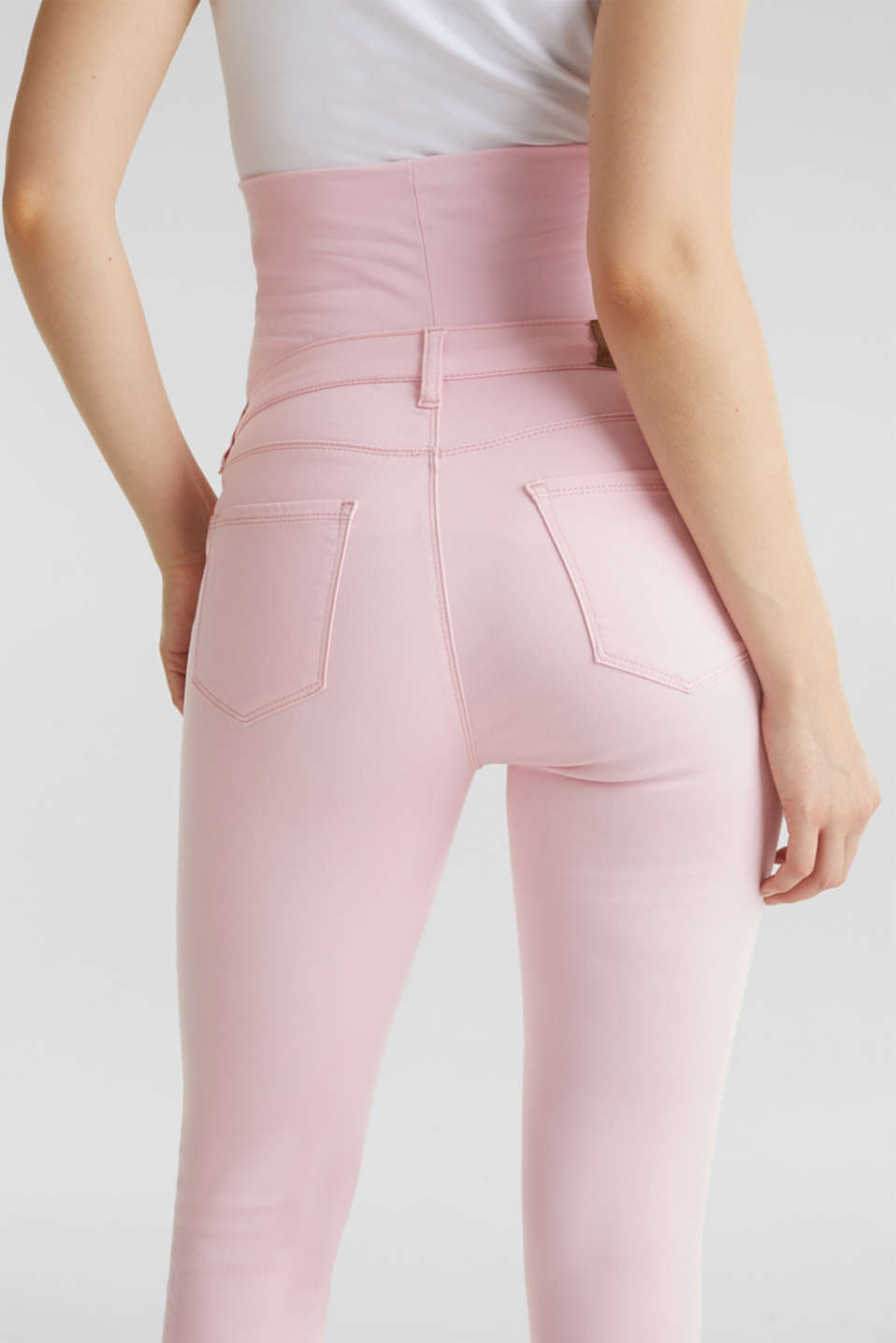 7/8-length stretch trousers with an over-bump waistband, LCLIGHT PINK, detail image number 5