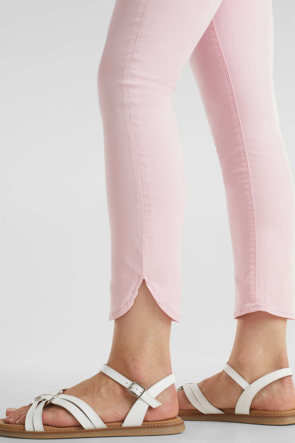 7/8-length stretch trousers with an over-bump waistband, LCLIGHT PINK, detail image number 7
