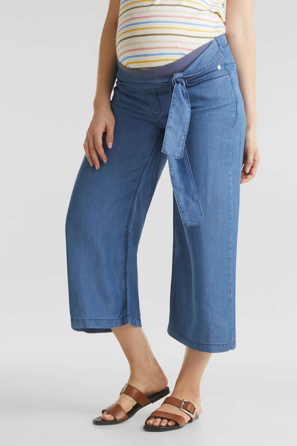 Lyocell culottes with an under-bump waistband, LCMEDIUM WASH, detail image number 0