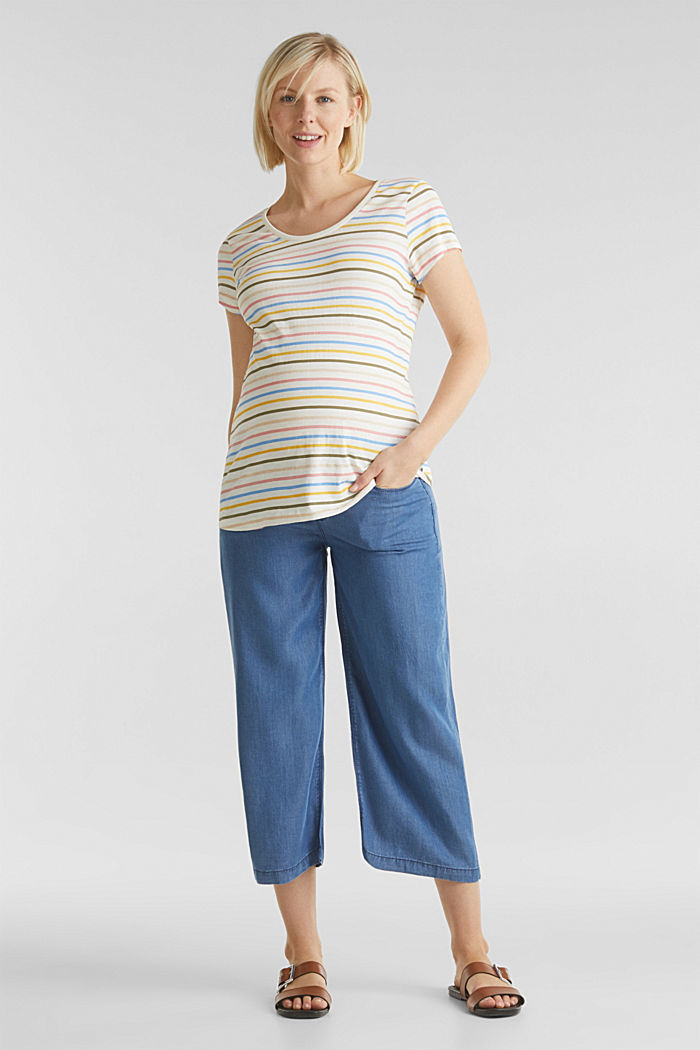 Lyocell culottes with an under-bump waistband, BLUE MEDIUM WASHED, detail image number 1