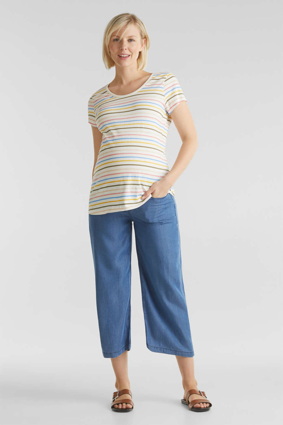 Lyocell culottes with an under-bump waistband, LCMEDIUM WASH, detail image number 1