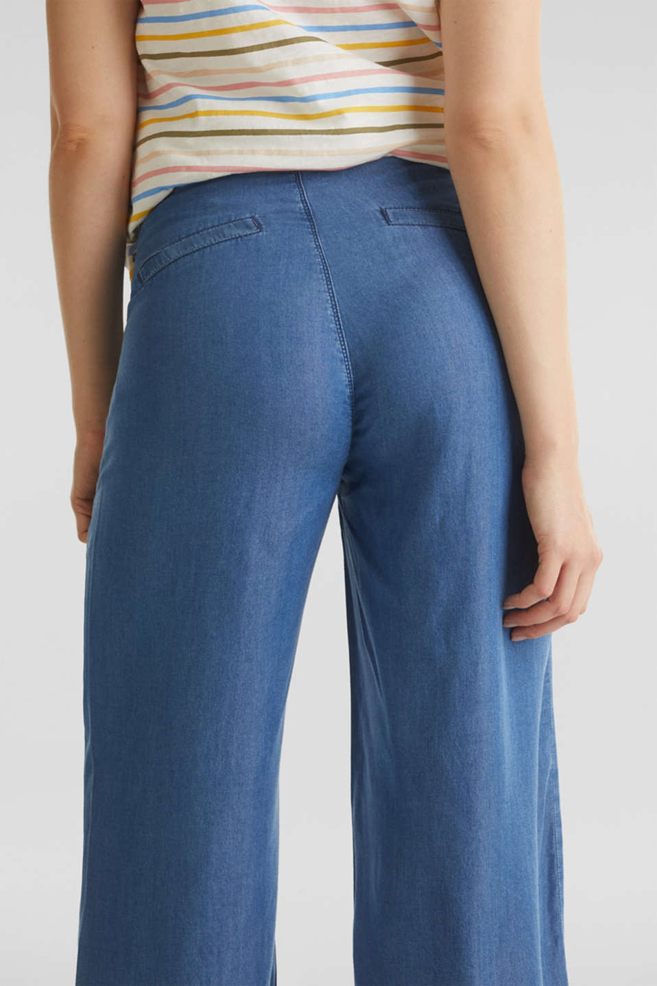 Lyocell culottes with an under-bump waistband, LCMEDIUM WASH, detail image number 5