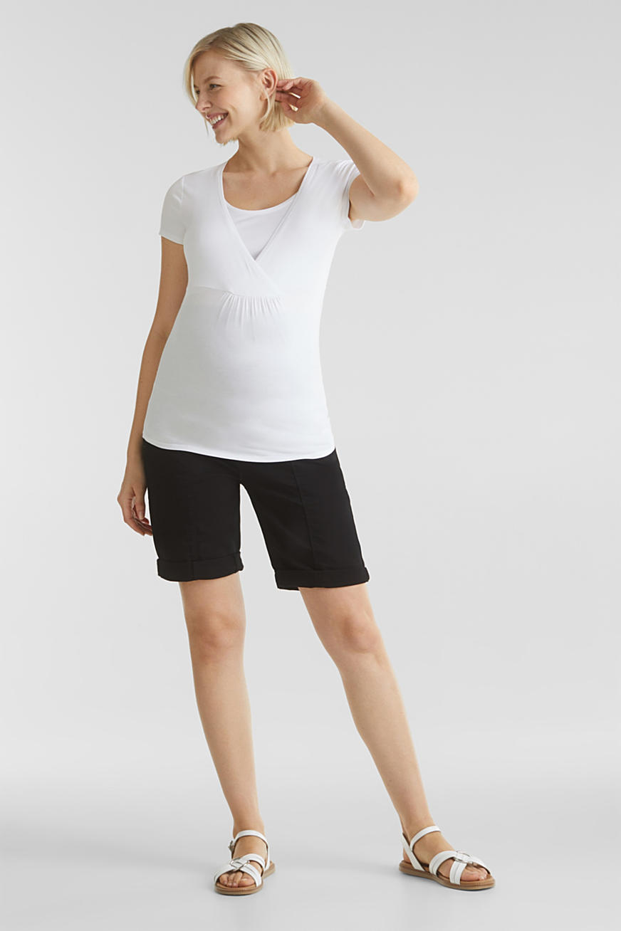 Stretch shorts with an over-bump waistband