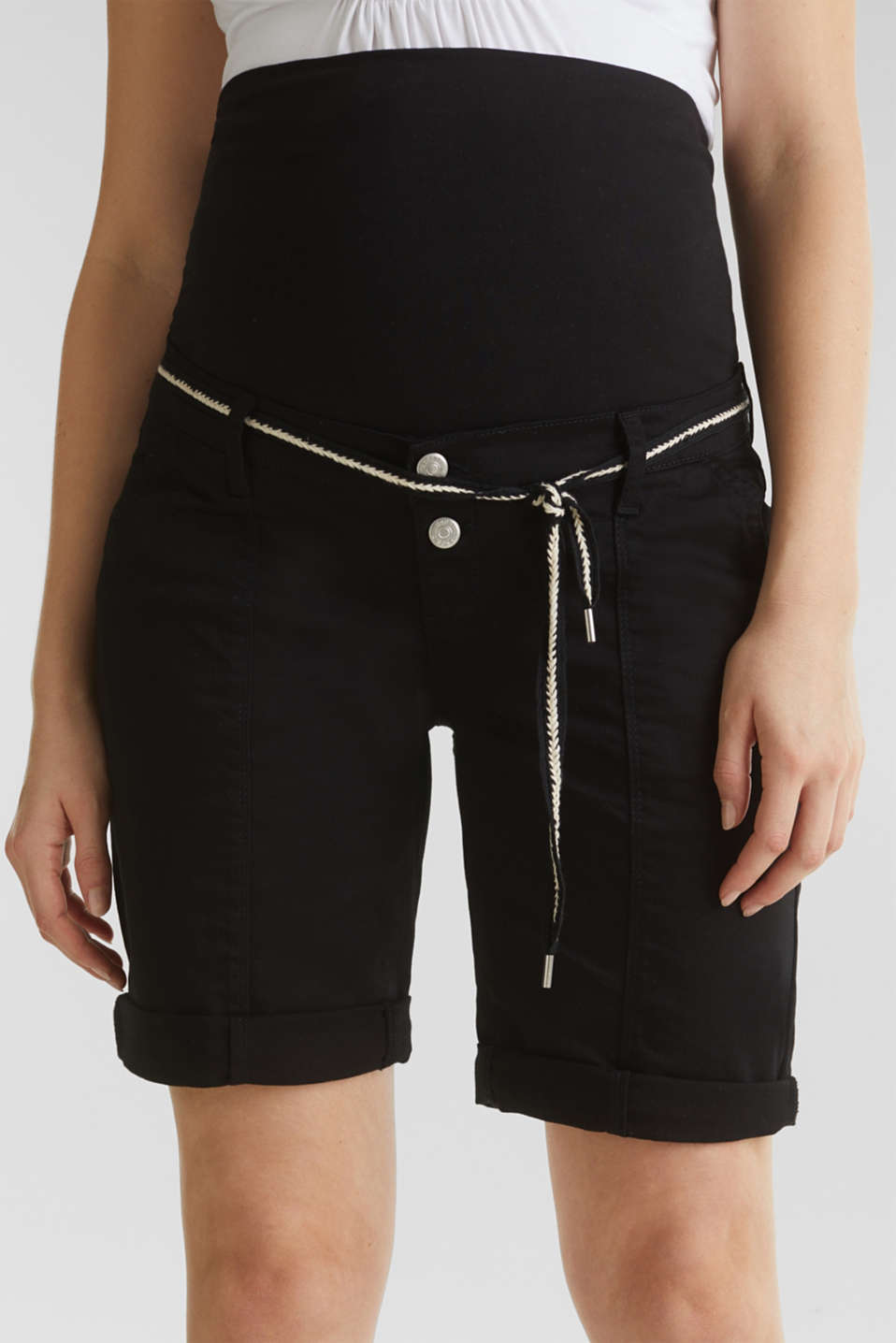 Stretch shorts with an over-bump waistband, LCBLACK, detail image number 1