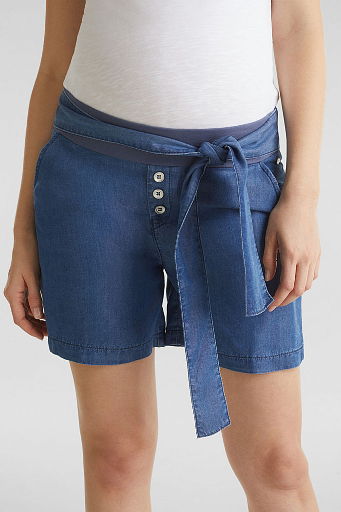 Lyocell-Shorts mit Unterbauchbund, BLUE MEDIUM WASHED, detail image number 1