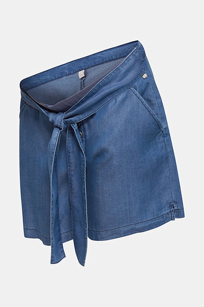 Lyocell shorts with an under-bump waistband, BLUE MEDIUM WASHED, detail image number 4