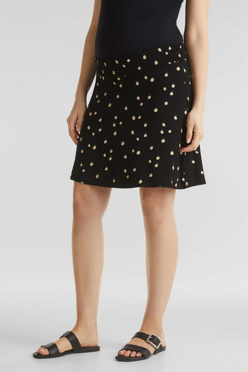 Stretch jersey skirt with a comfortable waistband, LCBLACK, detail image number 0