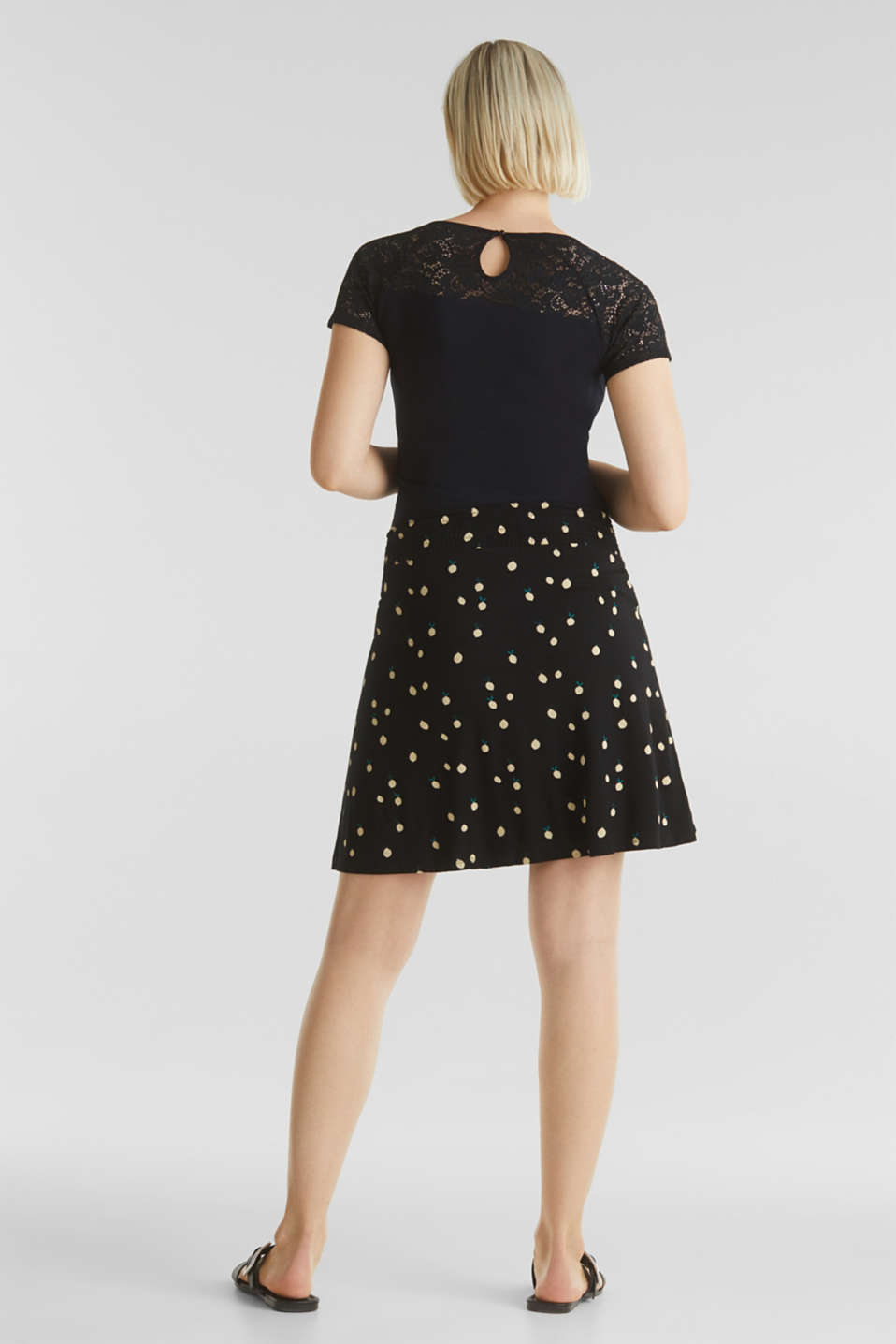 Stretch jersey skirt with a comfortable waistband, LCBLACK, detail image number 3