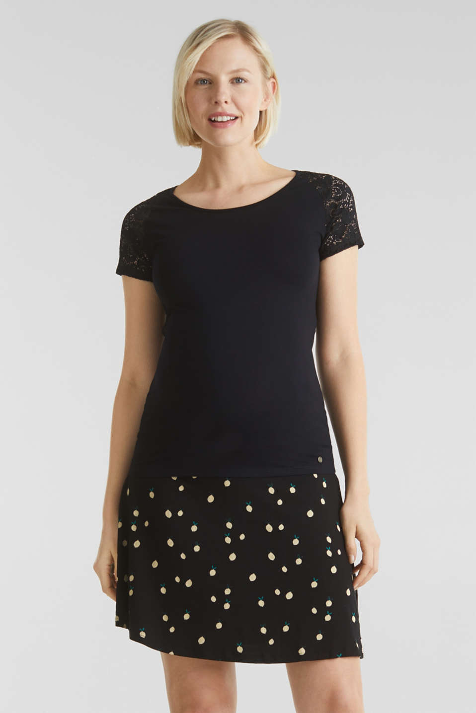 Stretch jersey skirt with a comfortable waistband, LCBLACK, detail image number 6