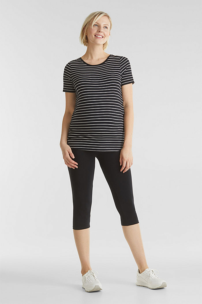 Capri leggings + under-bump waistband, BLACK, detail image number 0