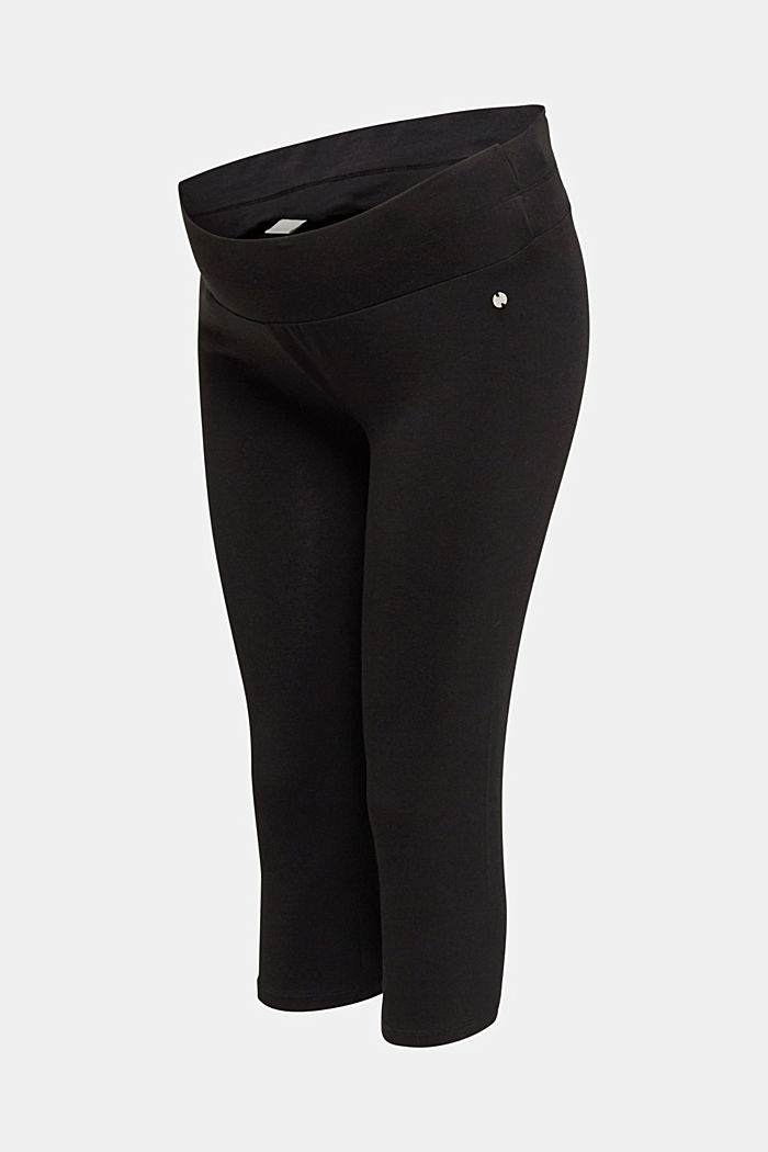 Capri leggings + under-bump waistband, BLACK, overview