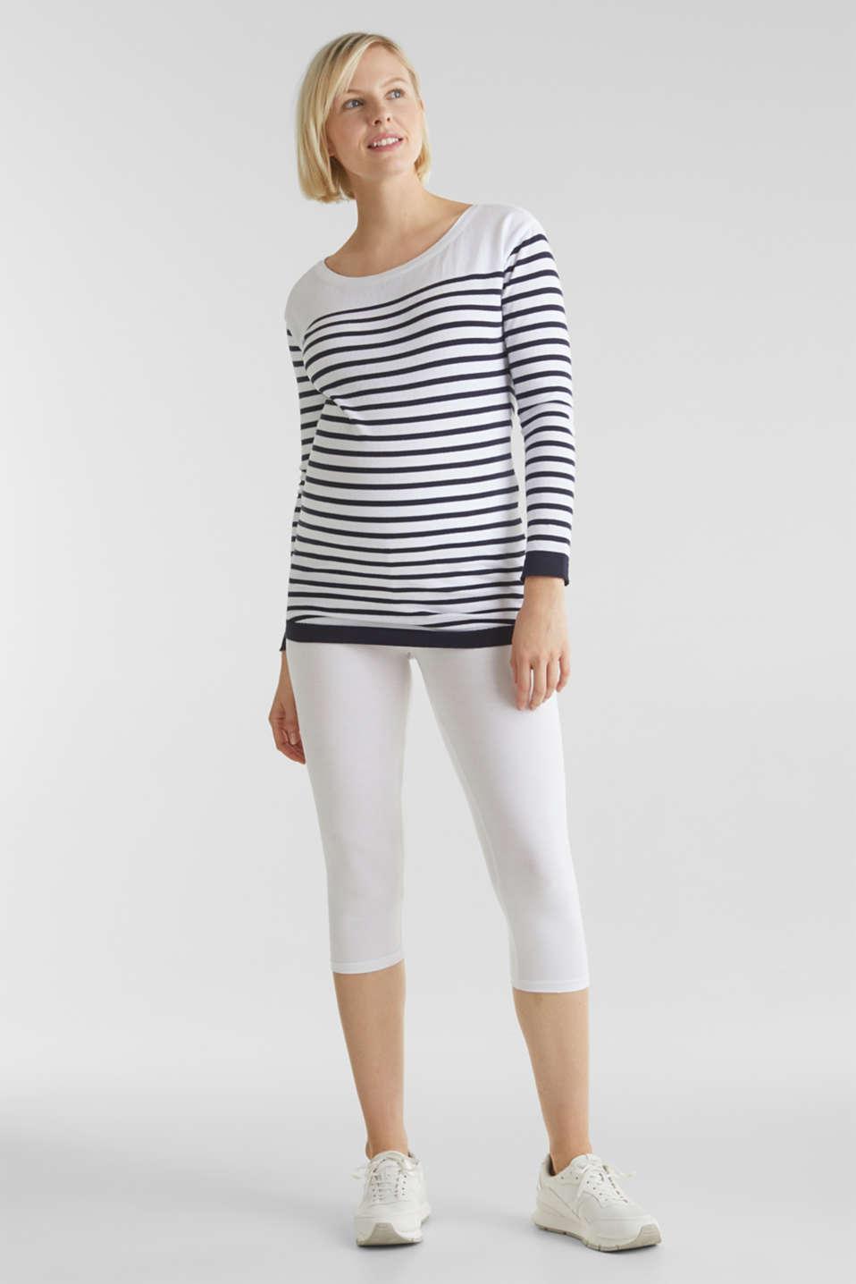 Capri leggings + under-bump waistband, WHITE, detail image number 0