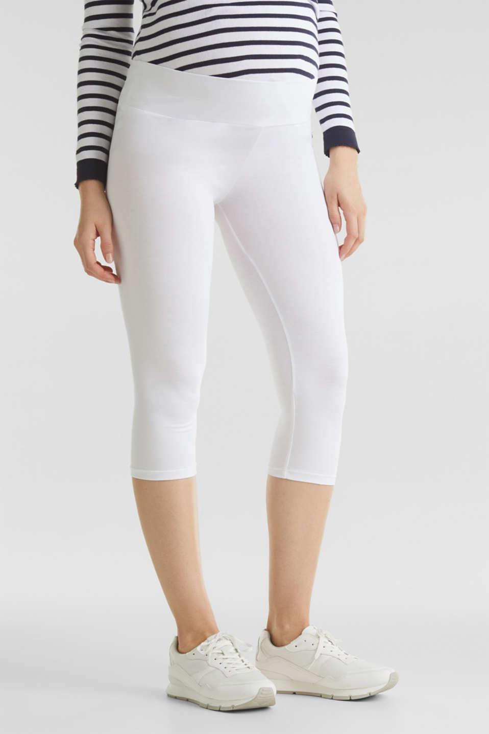 Capri leggings + under-bump waistband, WHITE, detail image number 1