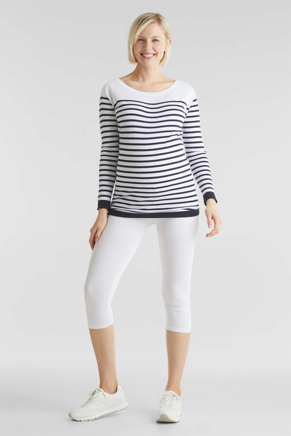Capri leggings + under-bump waistband, WHITE, detail image number 5