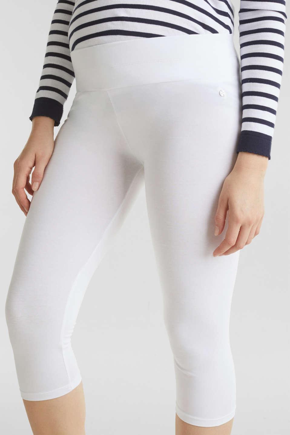 Capri leggings + under-bump waistband, WHITE, detail image number 2