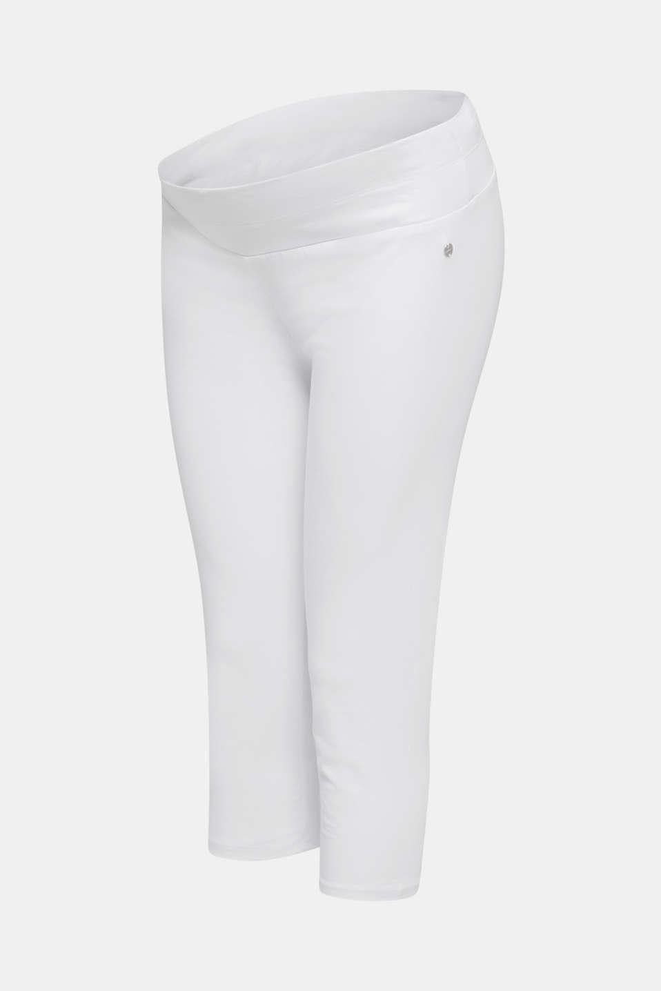 Capri leggings + under-bump waistband, WHITE, detail image number 3