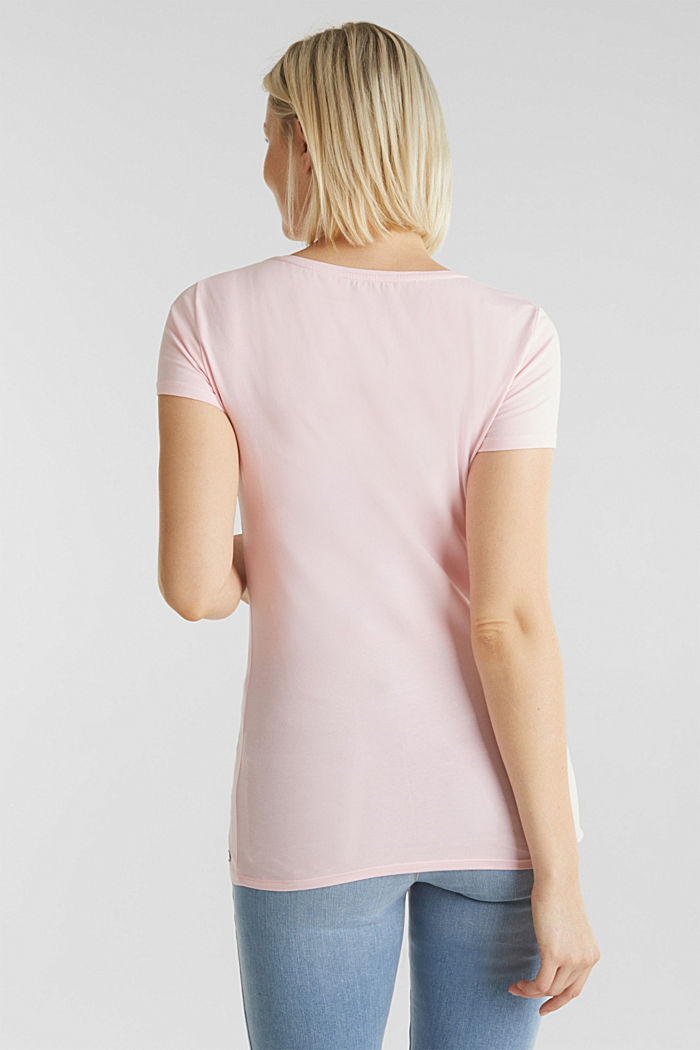 Stretch T-shirt with watercolour print, LIGHT PINK, detail image number 3
