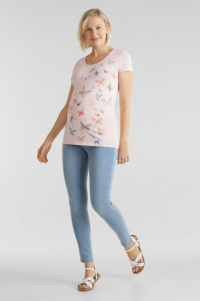 Stretch T-shirt with watercolour print, LIGHT PINK, detail image number 1