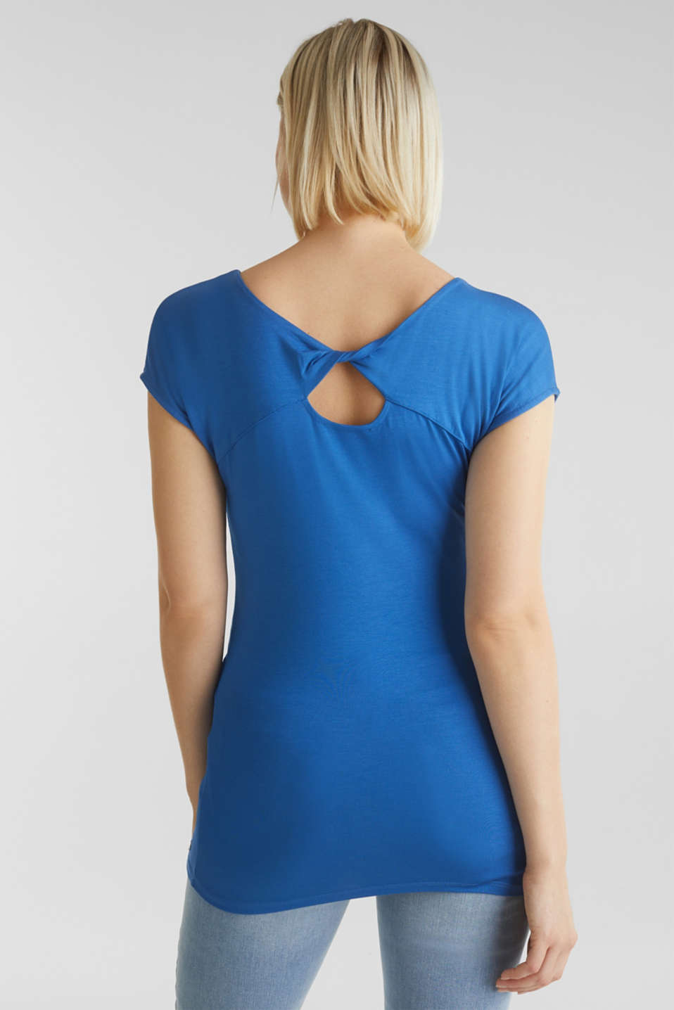 Stretch top with back cut-out, GREY BLUE, detail image number 3