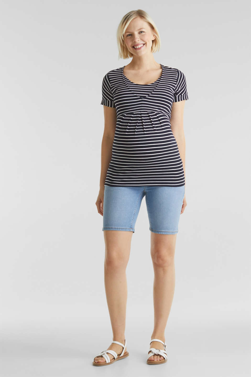 Esprit - Denim shorts with an under-bump waistband
