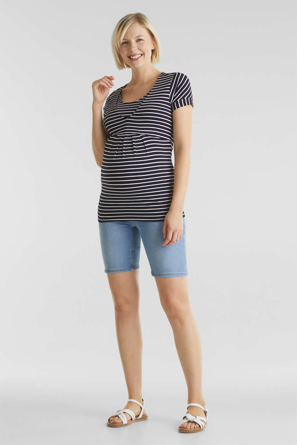 Denim shorts with an under-bump waistband, LCLIGHTWASH, detail image number 1