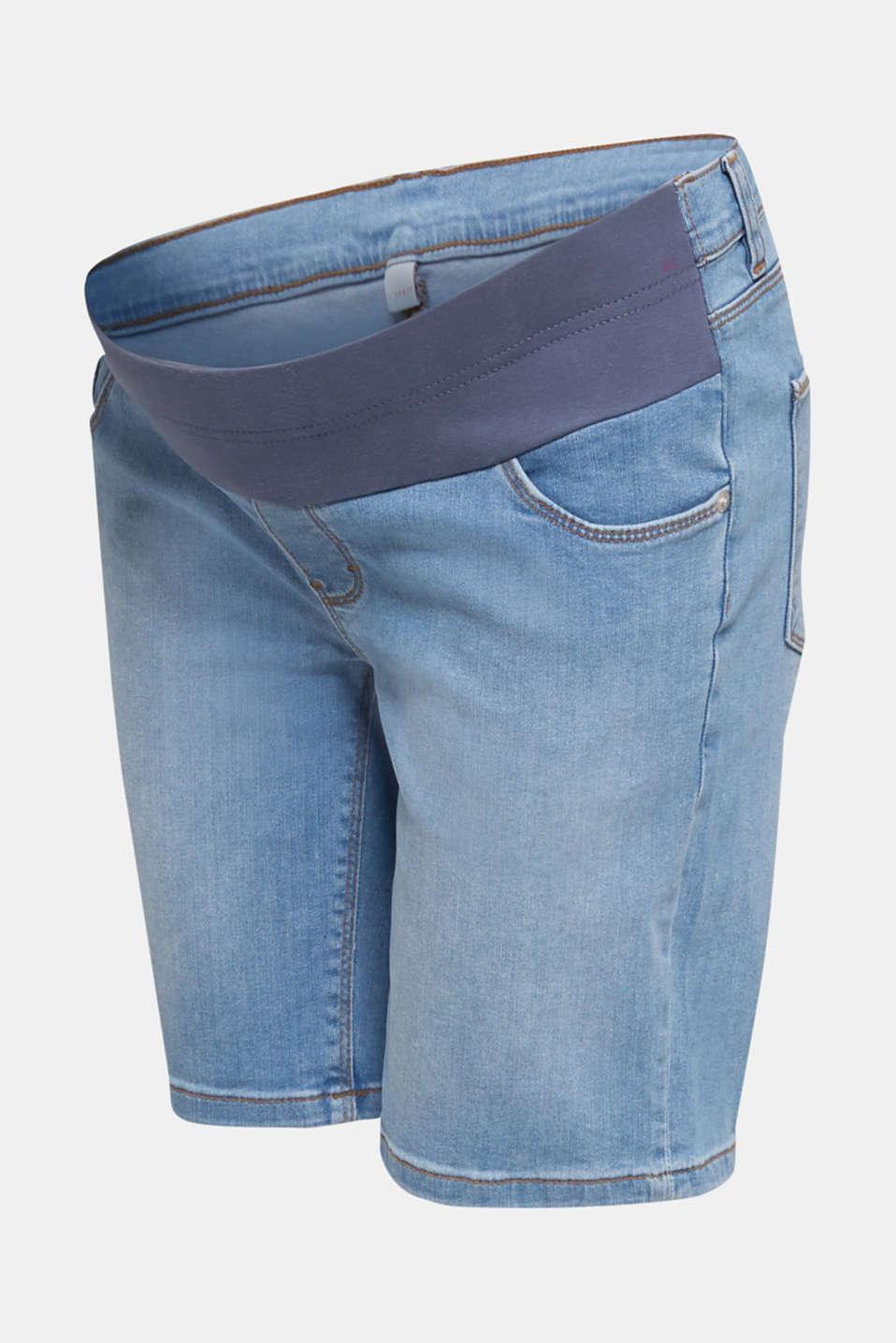 Denim shorts with an under-bump waistband, LCLIGHTWASH, detail image number 6