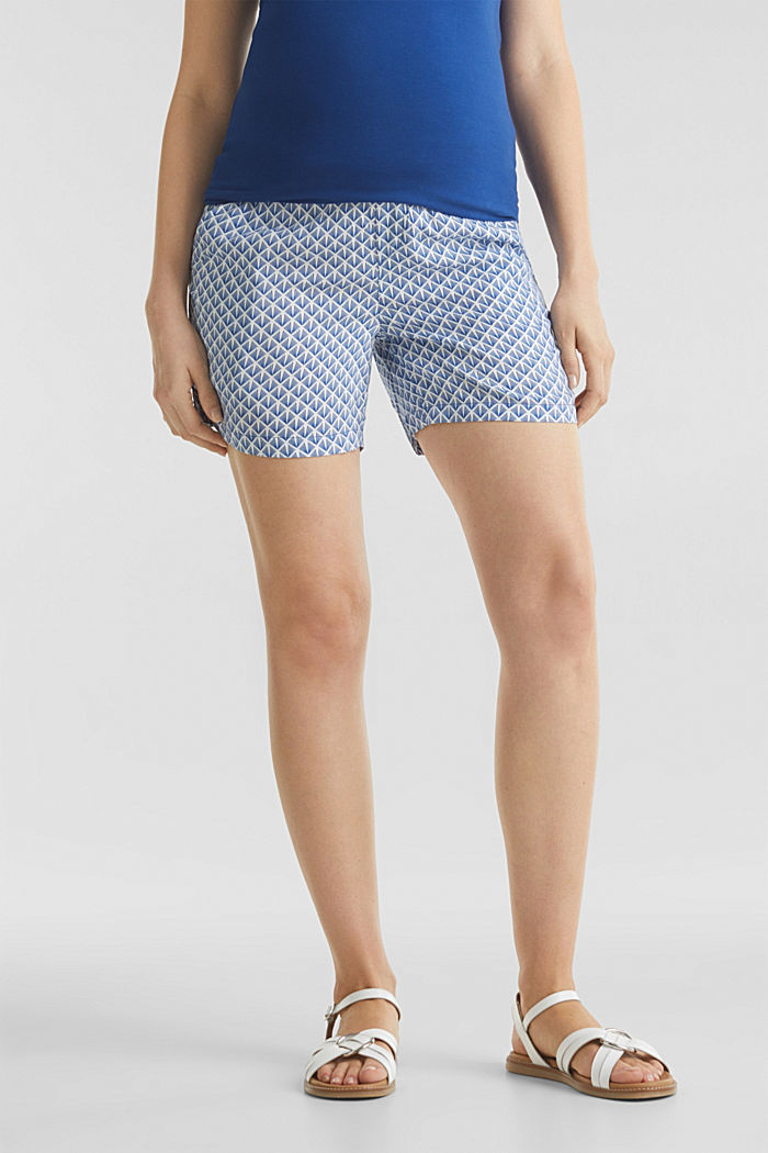 Woven shorts with an under-bump waistband, GREY BLUE, detail image number 0