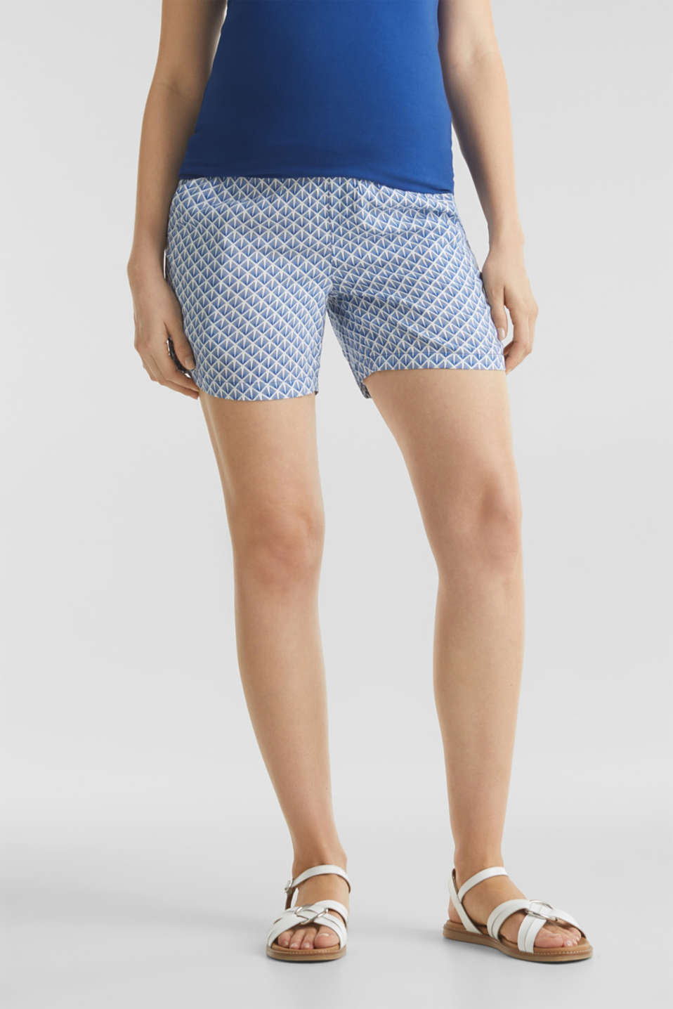 Woven shorts with an under-bump waistband, LCGREY BLUE, detail image number 0