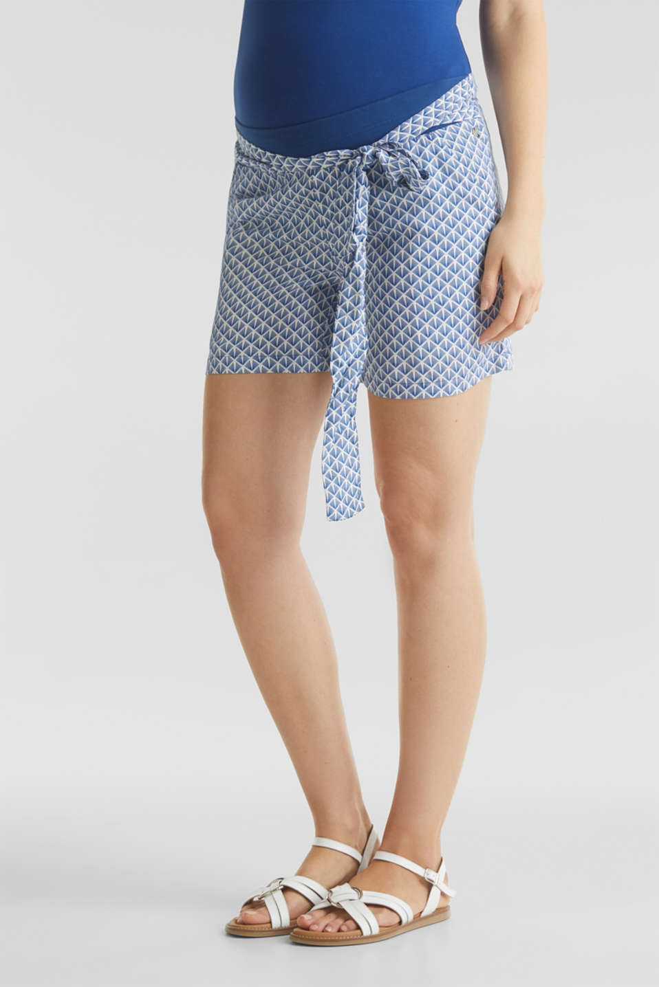 Woven shorts with an under-bump waistband, LCGREY BLUE, detail image number 6