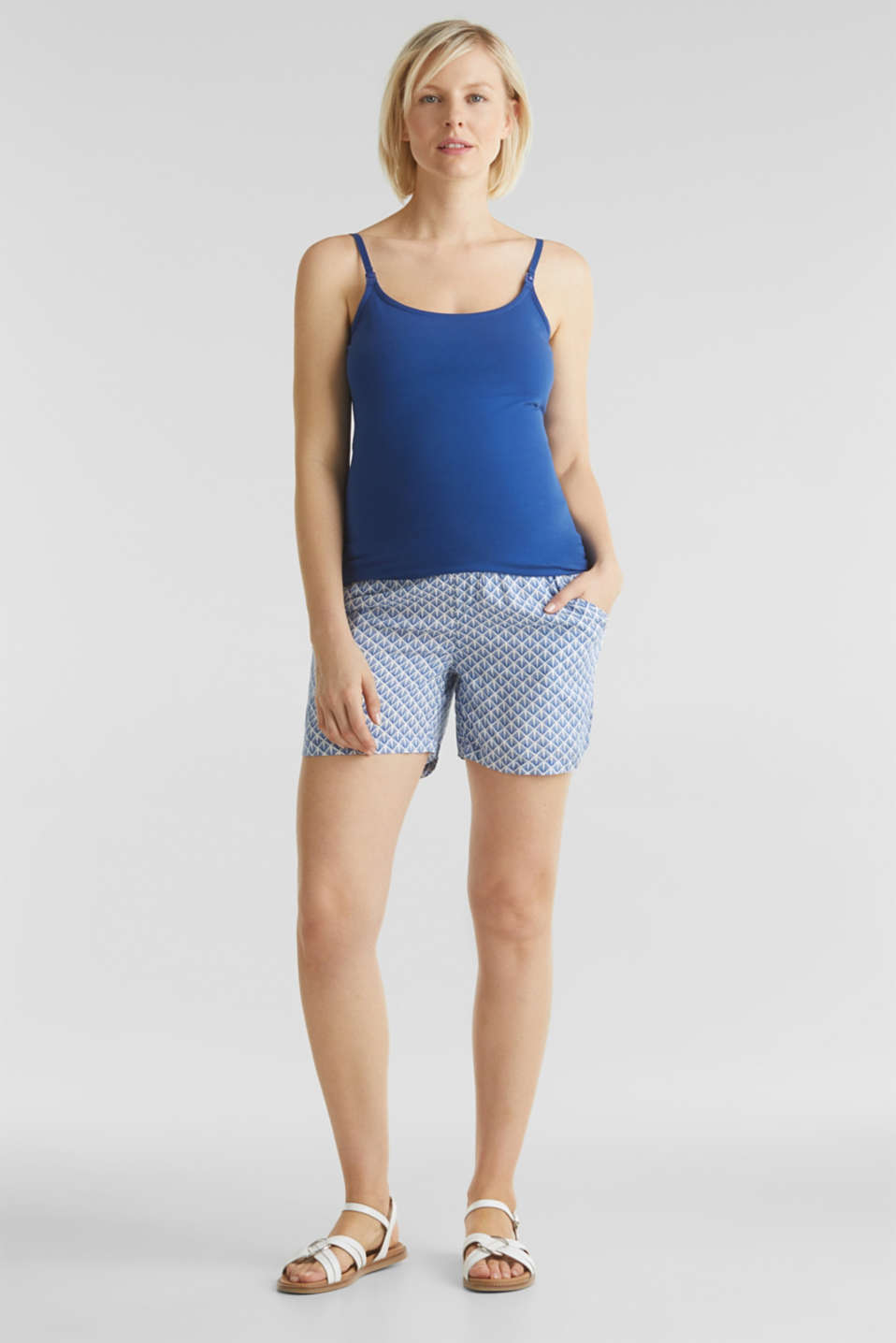 Woven shorts with an under-bump waistband, LCGREY BLUE, detail image number 1