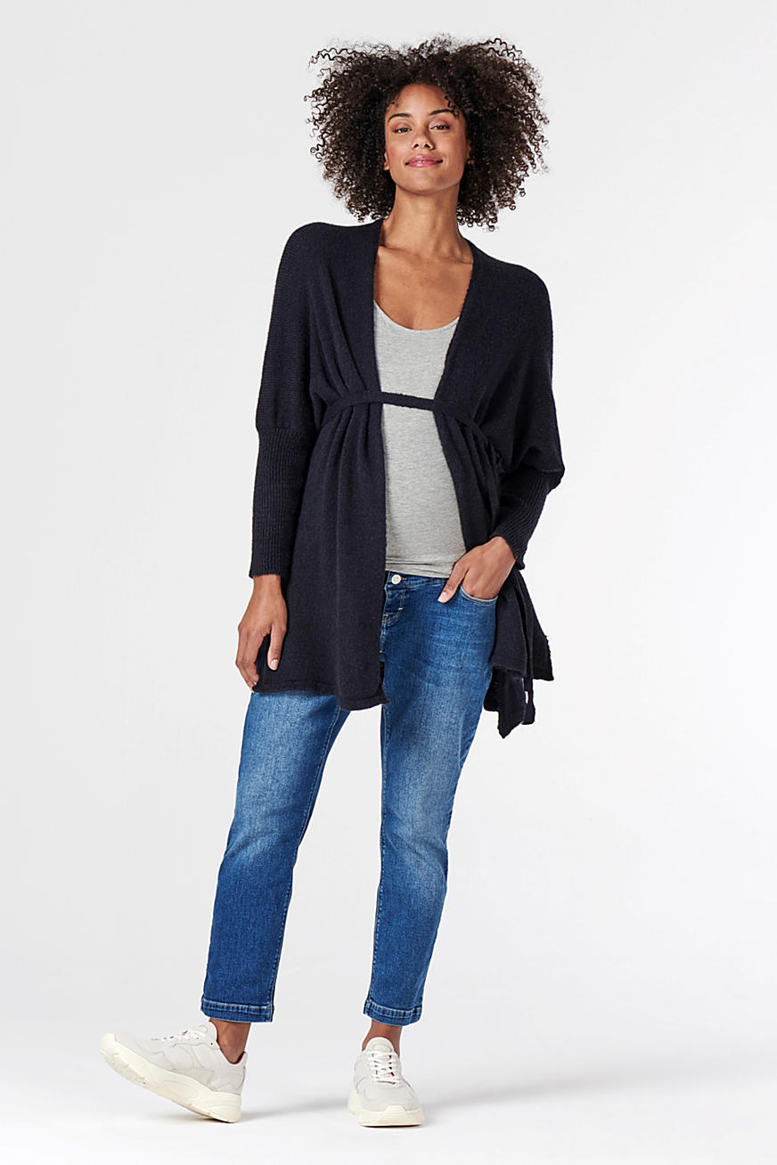 Open-fronted cardigan with a belt