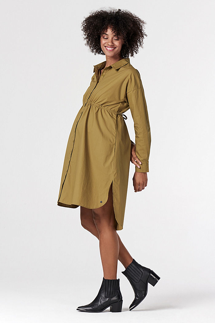 Shirt dress made of 100% cotton, KHAKI GREEN, detail image number 0