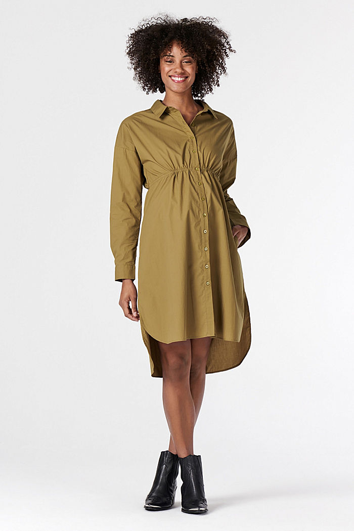 Hemdblusenkleid aus 100% Baumwolle, KHAKI GREEN, detail image number 1