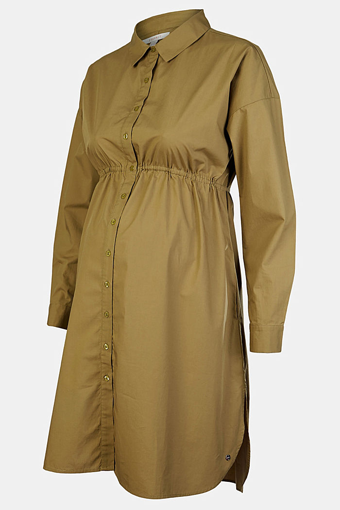 Shirt dress made of 100% cotton, KHAKI GREEN, detail image number 4