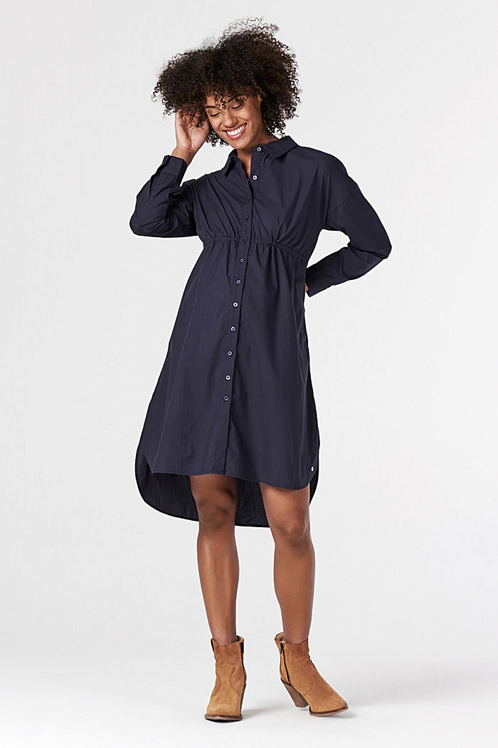 Shirt dress made of 100% cotton, NIGHT SKY BLUE, detail image number 0