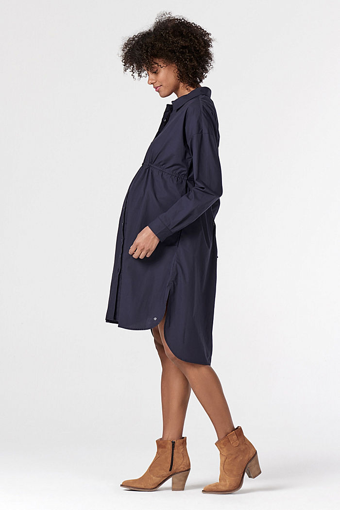Shirt dress made of 100% cotton, NIGHT SKY BLUE, detail image number 1