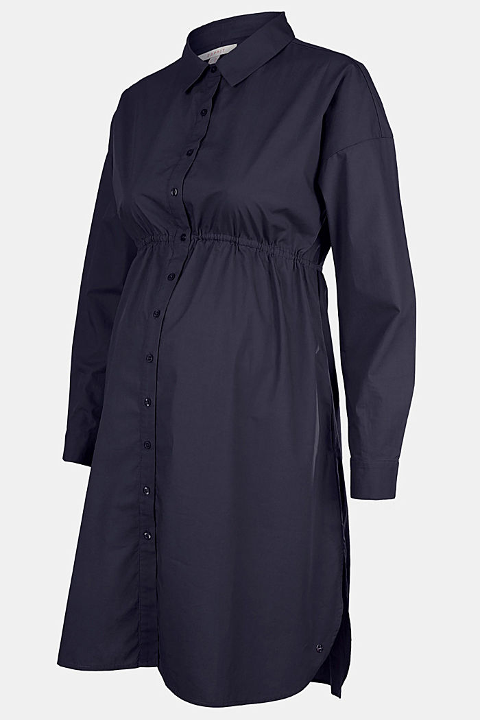 Shirt dress made of 100% cotton, NIGHT SKY BLUE, detail image number 4