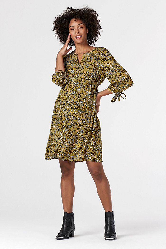 Print nursing dress, KHAKI GREEN, detail image number 0