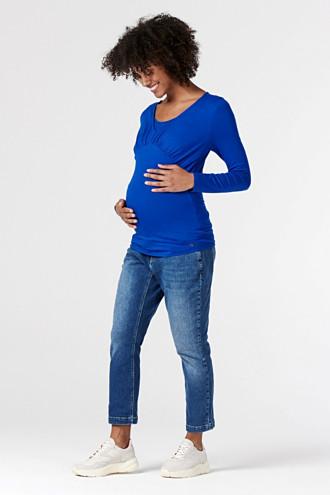 Ankle-length jeans with an over-bump waistband