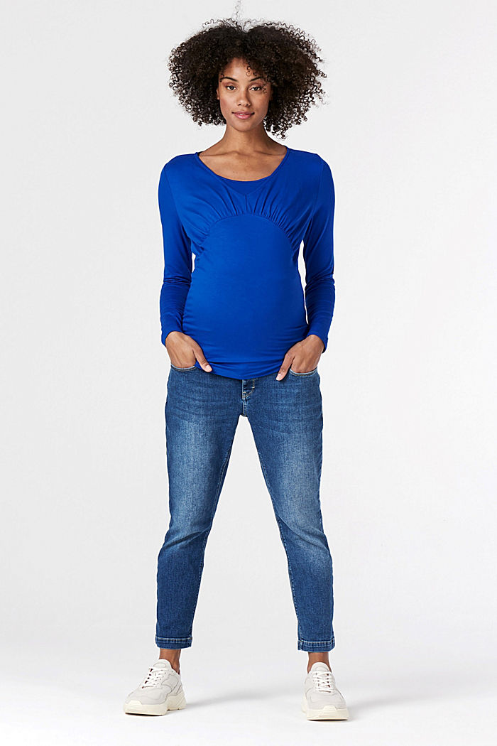 Ankle-length jeans with an over-bump waistband, MEDIUM WASHED DENIM, detail image number 1
