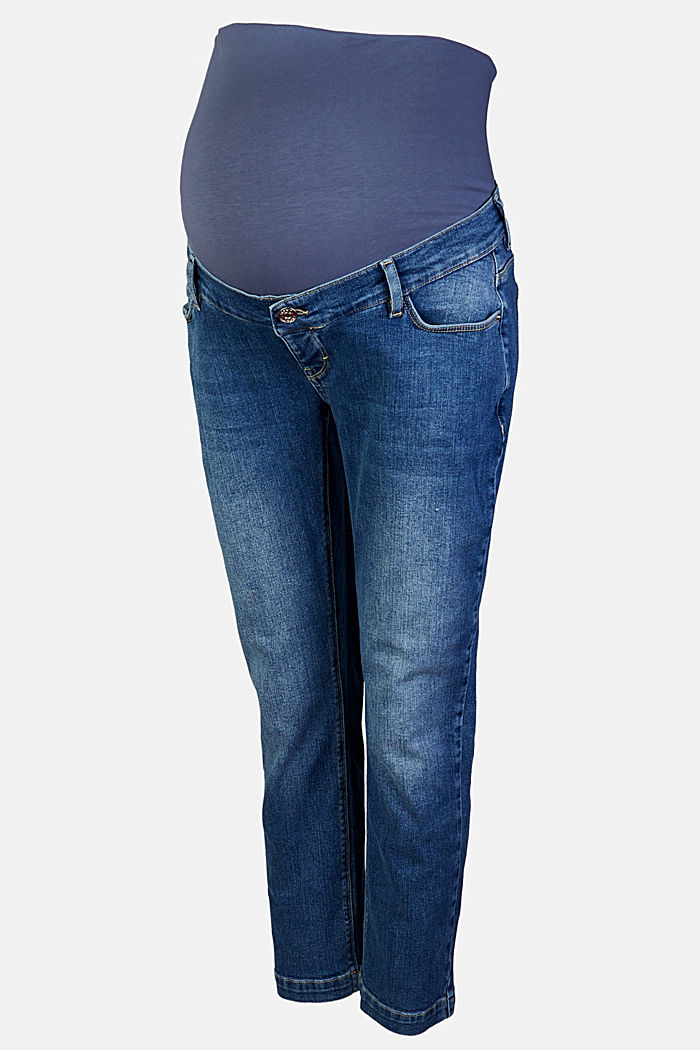 Ankle-length jeans with an over-bump waistband, MEDIUM WASHED DENIM, overview