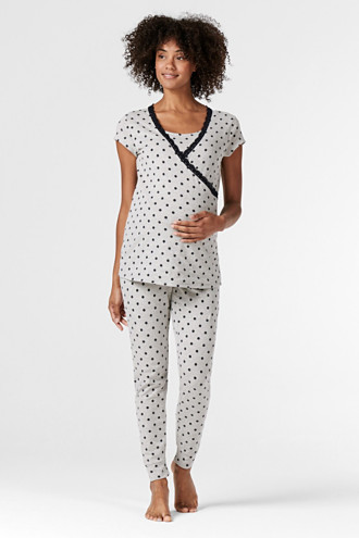Nursing top with a print, stretch and lace