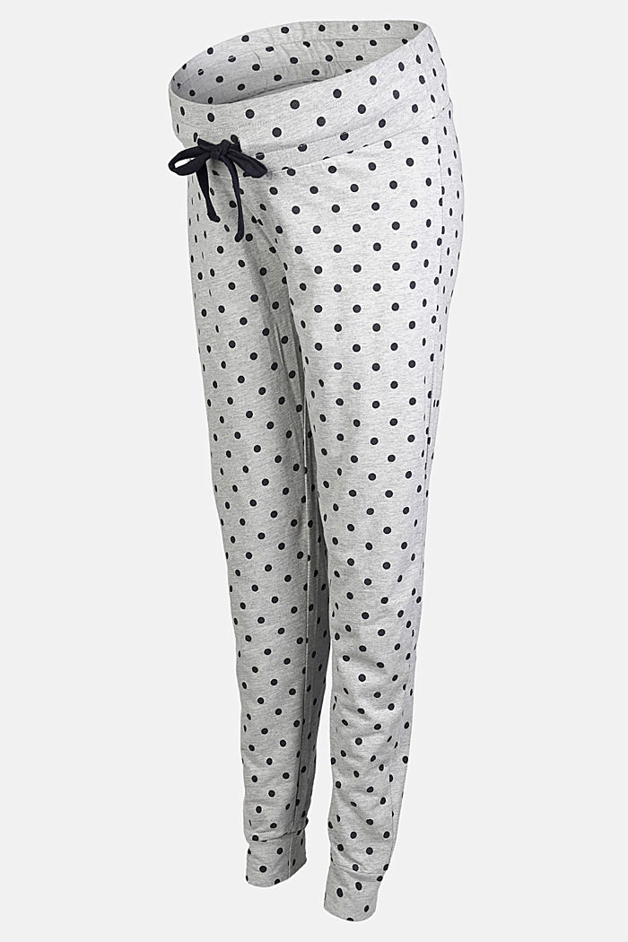 Pyjama trousers with an under-bump waistband, LIGHT GREY MELANGE, overview