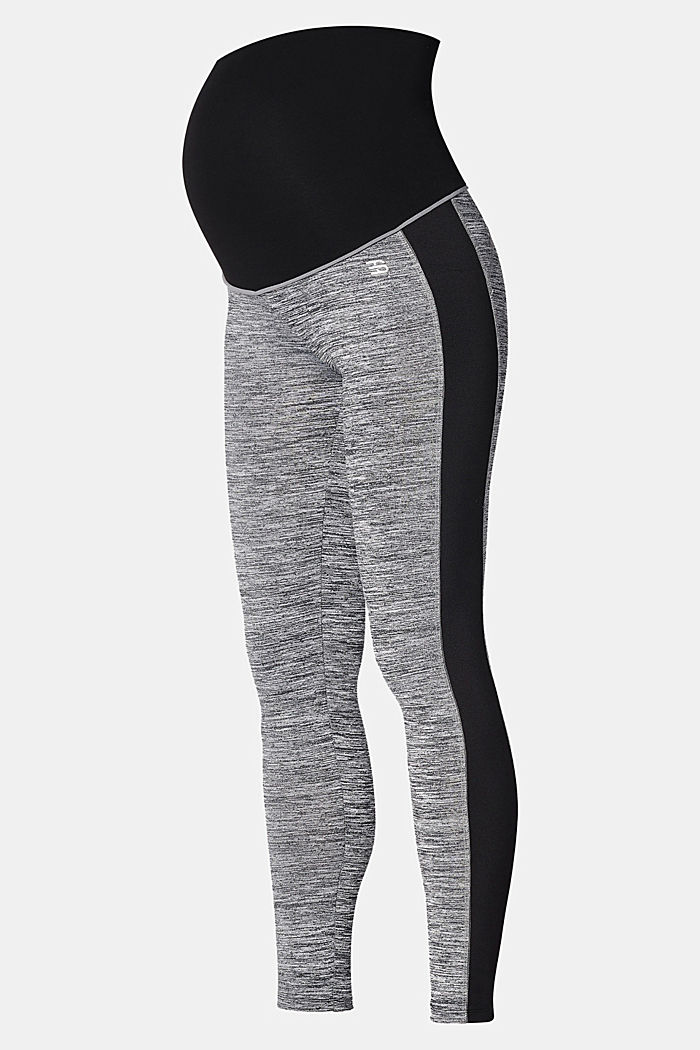 Active leggings with over-bump waistband, GUNMETAL, overview