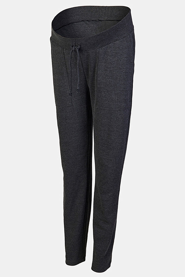 Comfortable jersey trousers with a melange finish, ANTHRACITE MELANGE, detail image number 4